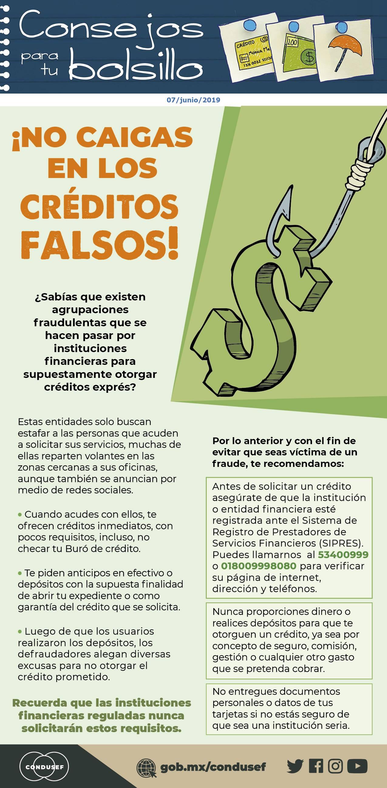 ¡NO CAIGAS EN LOS CRÉDITOS FALSOS!