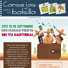 Este 15 de septiembre ¡No hagas fiesta en tu cartera!