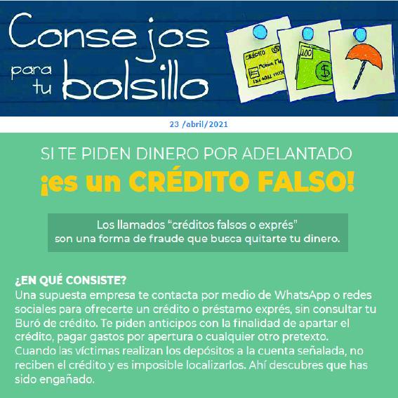 ¡Si te piden dinero por adelantado, es un crédito falso!